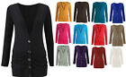 Ladies Women Boyfriend Cardigan Button Up Long Sleeve Top Jumper 8-26