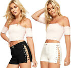 Womens Lace Eyelet Side Tie Denim Shorts Ladies Pocket Button Stretch New Pants