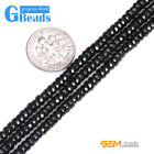 Natural Black Agate Gemstone Faceted Rondelle Spacer Beads Free Shipping