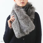 Bosroom Women's Real Silver Fox Fur Big size Muffler Clip Closure Soft Light
