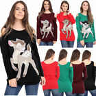 New Ladies Cold Shoulder Little Bambi Xmas Christmas Long Tunic Jumper Top