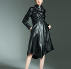 Chic Womens Winter Motocycle Leather Trench Coat Long Jacket Asia Size Fashion