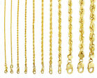 """10K Yellow Gold 1mm-10mm Diamond Cut Solid Rope Chain Pendant Necklace 16""""- 32"""" image"""