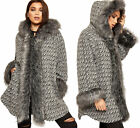 Womens Faux Fur Trim Hooded Knit Long Sleeve Jacket Cardigan Ladies Poncho Coat