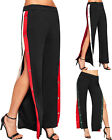 Womens Contrast Striped Wide Button Open Leg Flared Ladies Palazzo Trousers