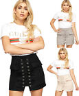 Womens Lace Up Eyelet Tied Pocket Zip High Waist Ladies Boho Suede Mini Skirt