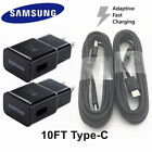Lot OEM Fast Wall charger 10FT Transcribe C cable Samsung Galaxy Note8 S8 S9 plus BK