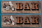 Harley Davidson OR Triumph Motorbike Wooden Bar Signs $14.99 AUD on eBay