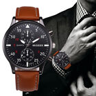 Luxury Retro Men's Faux Leather Watches Stainless Steel Sport Analog Wrist Watch
