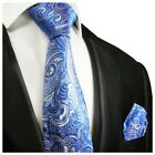 Hand Made Blue Paisley Silk Tie and Pocket Square Set by Paul Malone