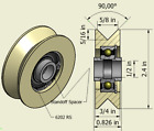 """2.4"""" In Nylon Pulley, V Groove, Various Groove Sizes to Choose, 1/2"""" In Bearing"""