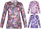 Womens Plus Size Ladies Floral Soft Touch Long Sleeve Stretch Top Sweatshirt