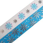 Frosty Snowflake Winter Xmas Grosgrain & Satin Ribbon - Colour and Width Choice