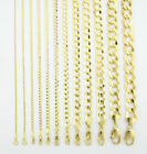"""Solid 10K Yellow Gold 2mm-12.5mm Curb Cuban Chain Link Necklace Bracelet 7""""- 30"""" image"""