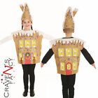 Kids Gingerbread House Costume Boys Child Girls Christmas Fancy Dress Outfit New