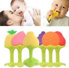 US Stock Baby Teether Silicone Fruit Shape Toys Dental Care Toothbrush Training