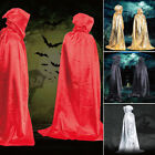 Satin Adult Cool Vampire Hooded Cloak Witch Robe Cape Halloween Cosplay Costume