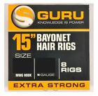"Guru 15"" Bayonet Hair Rigs - All Sizes Available - 8 Rigs Per Pack"