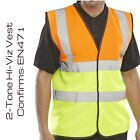 100 DOUBLE TONE HI VIZ VEST HIGH VIS SAFETY | YELLOW ORANGE | EN471 WAISTCOAT