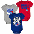 New York Rangers Newborn & Infant Blue/Gray/Red Hockey Baby 3-Pack Bodysuit Set