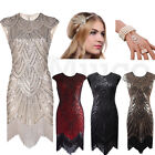 1920's Flapper Great Gatsby Dresses Art Deco Sequins Fringed Dress Cocktail Gown