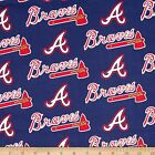 """100% Cotton Fabric Pre-Cut MLB Atlanta Braves Fabric 58"""" Wide Licensed Sold BTY"""
