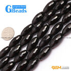 """Natural Black Agate Onyx Gemstone Faceted Olivary Rice Beads Free Shipping 15"""""""