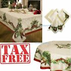 Christmas Tablecloth Festive Spotless Oblong Ovoid Dinner Tables Trimming Napkins