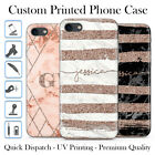 PERSONALISED ROSE GOLD GEOMETRIC MARBLE NAME INITIALS GEL PHONE CASE FOR IPHONE