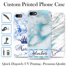PERSONALISED MARBLE WINTER BLUE INITIALS NAME CUSTOM HARD PHONE CASE FOR IPHONE