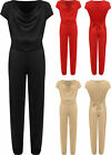 Plus Womens Sleeveless Suede Full Length Belted Pocket Cowl Neck Ladies Jumpsuit
