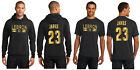 LeBron James LA Lakers Hoodie or T-Shirt Los Angeles Jersey Black w Shiny Gold