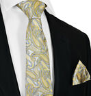 New Wheat and Grey Tie and Pocket Square Set by Paul Malone