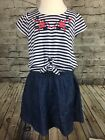Lucky Brand Girls Short Sleeve Knit Red White Blue Denim Dress Size 2T 3T