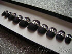 20 Painted False Nails Full Cover Press on Nails Matte Black Crystal Feature