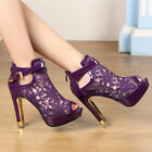 Purple Women Sexy Lace Flowers Open Toes Prom Party High Heels Ankle Boot Sandal