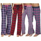 Ladies Pyjama Pants Nightwear Lounge Cotton Check Pattern Flannel Thermal Fleece