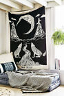 Crying Wolf of The Moon Wall Hanging Bohemian Tapestry Home Decor Bed Sheet