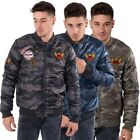 Mens Padded Bomber Jacket Winter Coat Camo Print Badges Zip Up Juice Size S-XXL