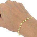 14K Yellow Gold 3.5mm-7mm Italian Figaro Chain Link Bracelet Mens Women 7&quot; 8&quot; 9&quot; <br/> GENUINE 14KT STAMPED GOLD | AVAIL IN ALL LENGTHS WIDTHS
