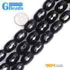 """Natural Black Agate Gemtone Column Faceted Beads For Jewelry Making 15"""" 13x18mm"""