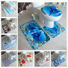 Hot Style 3D Marine Dolphin Carpet Flannel Three-piece Toilet floor Mat