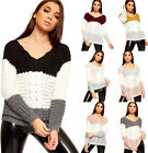 Womens Chunky Cable Knitted Long Sleeve Striped V-Neck Sweater Top Ladies Jumper