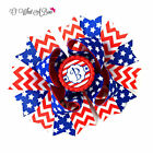 4th of July Hair Bow, Baby Girl Patriotic Bow, Red White Blue Star Headband Bow