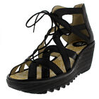 Womens Fly London Yeli Mousse Open Toe Leather Lace Up Strappy Wedges US 5-11