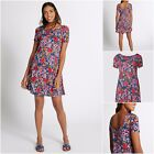 NEW M&S MARKS & SPENCER SWING DRESS TUNIC PINK BLUE DITSY FLORAL CASUAL 6 - 22