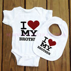 Funny Cotton I Love My Brother Baby Bodysuit BIBS Grow Gift Nontoxic Ink vest