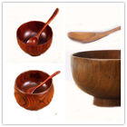 Large Soup Bowls Wood Handmade Healthy Foods Containers Dinner Dishes Vintage