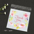 100Pcs Self-adhesive Flower Pattern Plastic Homemade Gift Cookie Packing Bags