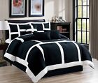 black comforter sets queen - 7 Piece Soft Patchwork Comforter set Black White All Sizes New at Linen Plus